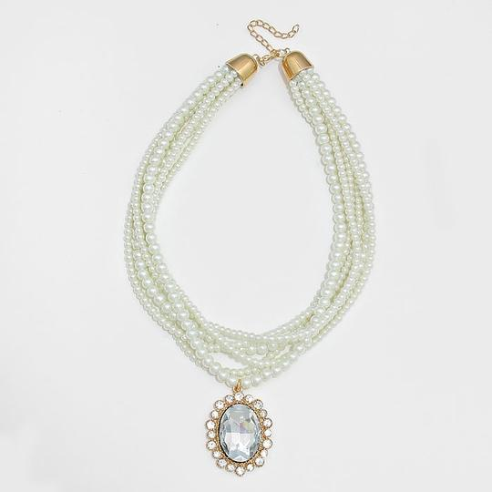Other Rhinestone Crystal Drop Charm Multistrand Pearl Necklace and Earring