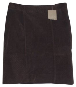 Ett:Twa Anthropologie Velour Quilted Skirt Brown