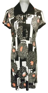 Etcetera short dress Black/off white/orange on Tradesy