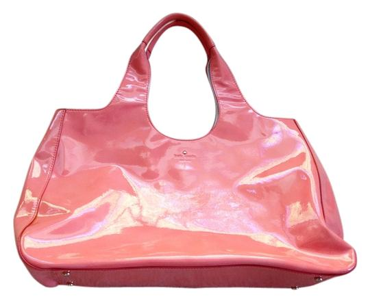 Kate Spade Patent Leather Pink Peach Tote in Salmon