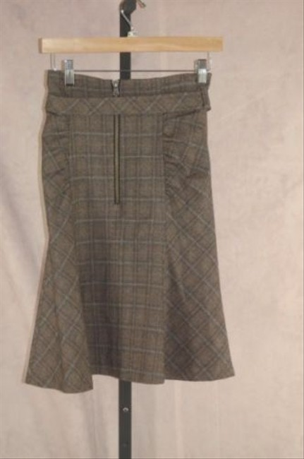 Nanette Lepore Plaid Ruched Belted Skirt Gray