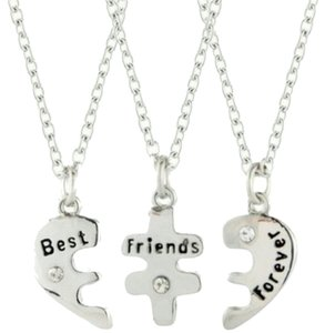 9.2.5 halves break 925 plate silver sterling best friends forever necklace chain split puzzle breaks into 3 pieces wedding bridesmaid jewelry new