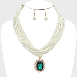Cream Clear Crystal and Emerald Green Rhinestone Drop Charm Multistrand Pearl Necklace Earring Jewelry Set