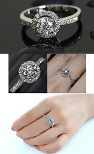 9.2.5 Auth 925 Silver 2.5 Ct Vvs1 Size 56789 Travel Ring Bridal S 925 Halo Round Ring Sterling Silver Diamond Stimulated