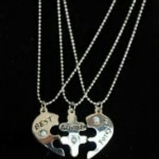 """9.2.5 18"""" Beaded Chain Silver Sterling Heart Splits 3 Break Best Friends Bff Mother Daughter Pendant Puzzle Necklace"""