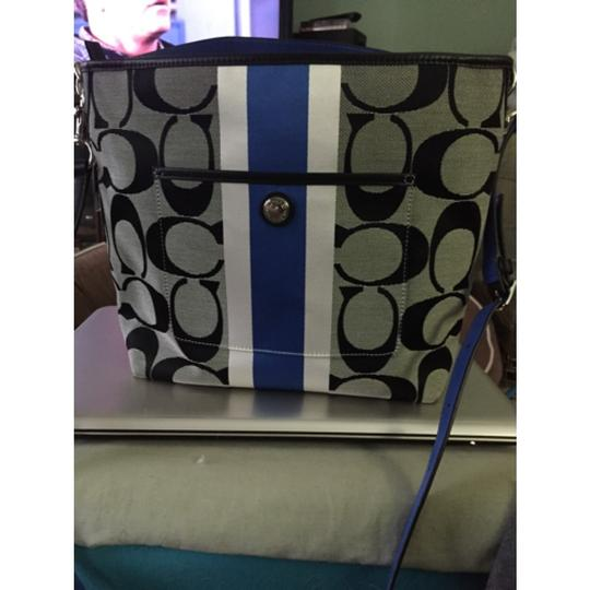 Coach Heritage Stripe Blue Signature 10055 Cross Body Bag