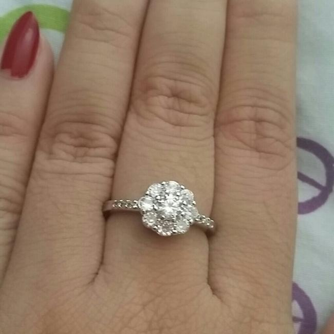 Item - 5 6 7 8 9 In Stock 5 6 7 8 Solid 925 Logo Cz Diamond Halo Flower S925 Engagement Ring