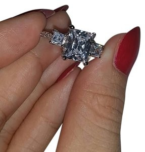 9.2.5 Wedding silver 925 diamond cz ring jewelry 5 6 7 8 authetic WEDDING BRIDAL ENGAGEMENT 3 STONES LAYER CUT VVS1 RING ROCK DIAMOND
