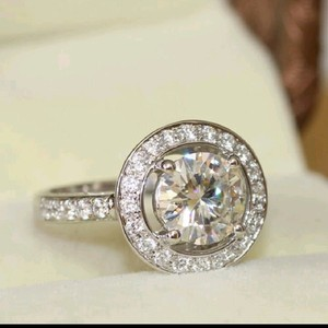 9.2.5 Silver Halo Diamond Band Pave Round Cut Silver 925 Diamond Cz 6 7 8 Engagement Ring
