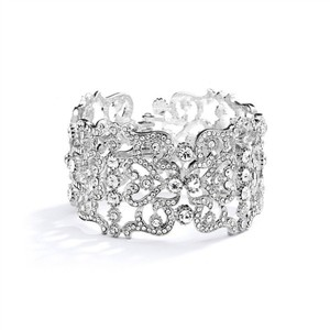 Silver Austrian Crystals Couture Cuff Bracelet