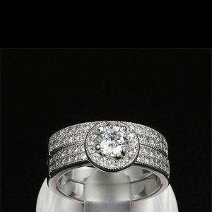 9.2.5 Size 8 Diamond Cz Authentic Silver Sterling Wedding Ring Cz Sets Engagement