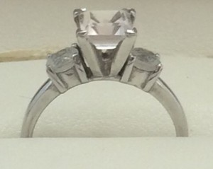 9.2.5 Sz 5678 Ring Silver Authentic Wedding Bridal Cz 3 Stone Layer Cut Engagement Ring