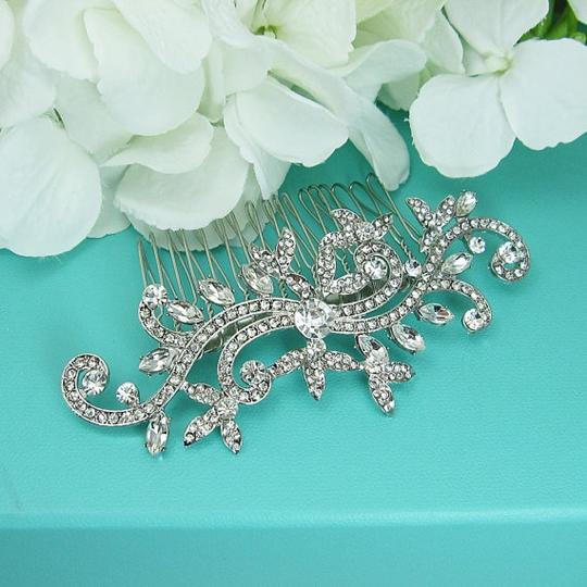 Other new hair comb silver flower clear sterling design leaf wedding bridal bridesmaid prom crystal cluster new rare