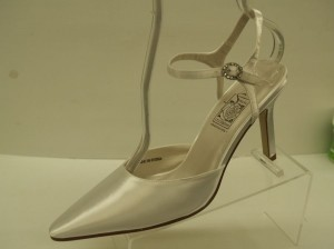 Special Occasions by Saugus Shoe White 36030 Closed Toe Pointy Toe Satin Pumps Rhinestones Buckle Sexy Dyeable Formal Size US 7.5 Regular (M, B)