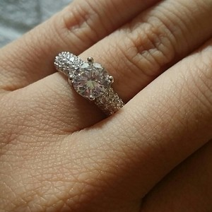 9.2.5 Size 5 6 7 8 9 Wedding Ring Diamond Cz Engagement Authentic Logo Pave Stone Clear White Bride Wedding