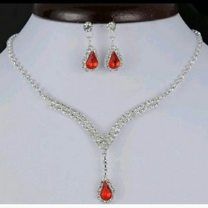 9.2.5 Pave Diamond Cz Neckalce Earring Red Ruby Dangle Prom Bridesmaid Mother Bride Engagement Jewelry Set