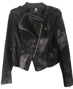 Double Zero denim/faux leather Womens Jean Jacket