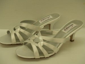 Dyeables Trisha White Size: 7.5 Size 7.5 Mule Clog Open Toe Satin Sandal Open Back Wedding Shoes