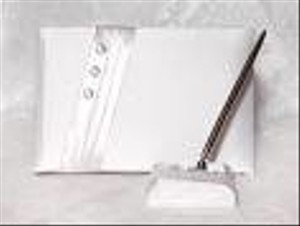 White Audrey Guest Book Beverly Clark W/ Pen Set