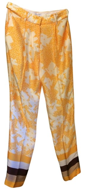 Vionnet Silk Trouser Pants orange/yellow, white tan and maroon