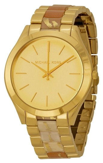 Michael Kors Michael Kors Gold Tone with Zebra Shimmer Acetate Designer Ladies watch