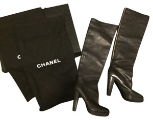Chanel Thigh High Leather Sky High Black Boots