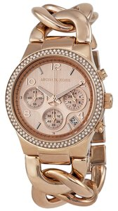 Michael Kors Michael Kors Rose Gold Crystal Pave Twist Chain Link Ladies Designer Watch