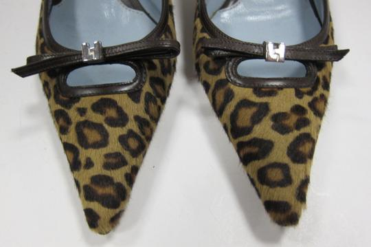 Lambertson Truex Leopard Print Calf hair with Brown LeatherTrim Pumps