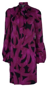 Diane von Furstenberg short dress Purple Silk Tie Collar High Neck Shift Flowy on Tradesy