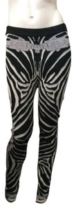 Hervé Leger Black/White Animal Print Leggings