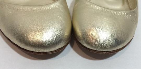 Manolo Blahnik Gold Leather Flats