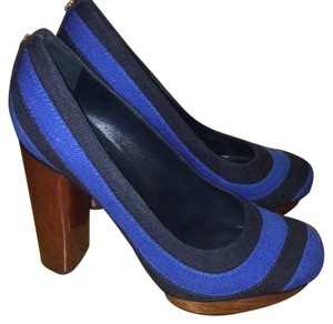 Tory Burch Navy Canvas Blue Platforms