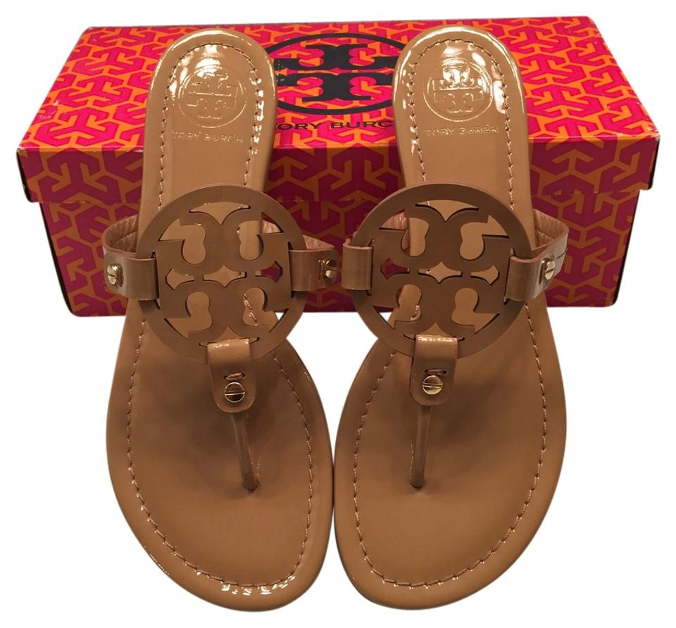7f4e9c609a12 Tory Burch Miller Patent Leather Flip Flop Thong Beige 8.5 Royal Tan Sandals  Image 0 ...