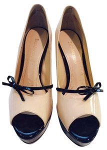 Enzo Angiolini Patent Leather Nude / Black Platforms