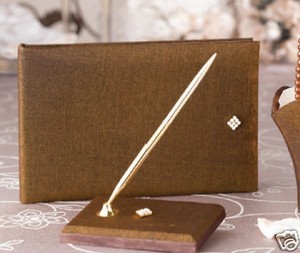 Bronze Glimmer Shimmer Guest Book & Pen Set