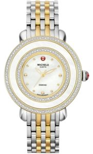 Michele Nwt Michele Cloette Diamond two tone watch Mother Of Pearl Dial $2495