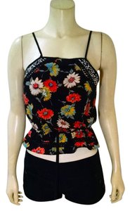 Xhilaration Size Small Black Floral P1553 Top black, pink, blue, yellow