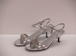 Dyeables Chic Silver Size: 8.5 Silver Strappy Sandal Formal Evening Party Wedding Shoes