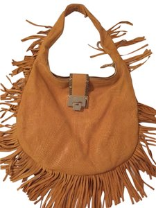 Jimmy Choo Leather Fringe Silver Hardware Hobo Bag