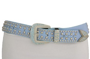 Other Women Western Belt Blue Faux Leather Silver Rhinestones Metal Buckle