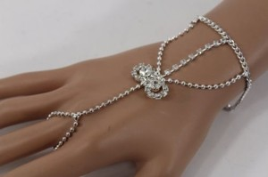 Other Women Hand Chain Silver Rhinestone Round Circles Fashion Slave Ring Bracelet