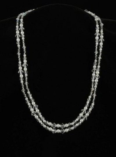 Toni Federici Pearls and Clear Crystals 2 Str Silver Necklace