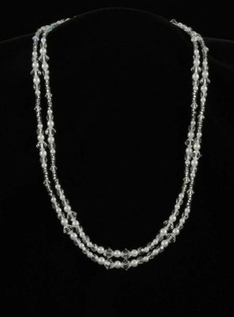 Toni Federici Pearls and Clear Crystals 2 Strand Silver Necklace Toni Federici Pearls and Clear Crystals 2 Strand Silver Necklace Image 1