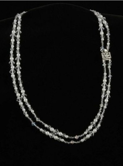 Toni Federici Pearls and Clear Crystals 2 Strand Silver Necklace
