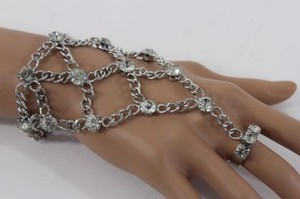 Other Women Silver Bracelet Hand Chain Net Multi Rhinestones Fashion Slave Ring