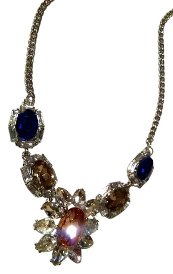 Other Bib Necklace Navy Pink Silver Crystals 21 Inch New J1106