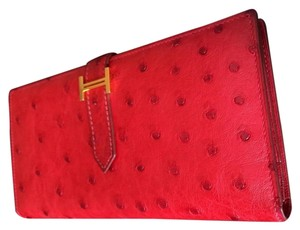 Hermès Truly RARE Hermes Ostrich Bearn Wallet Rouge Vif GHW 4 Birkin Kelly Constance Lindy