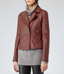 Reiss Womens Brick Sheep Leather Palermo Stitched Panel Coat Brown Jacket