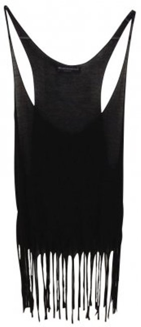 Brandy Melville Sheer Fringed Top Black