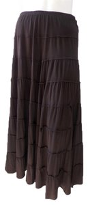 Design History Rayon Stretch Knit Peasant Skirt Brown
